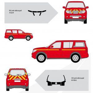 Balisage Pompier Rouge Jaune 4x4 Nissan Pathfinder