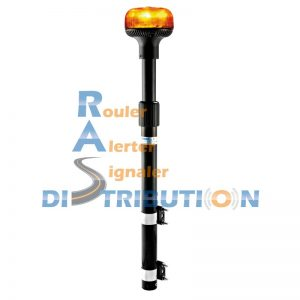 Mât moto avec gyrophare LED orange