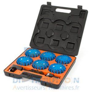 6 balises LED MegaFlare bleu (balises de signalisation temporaire)