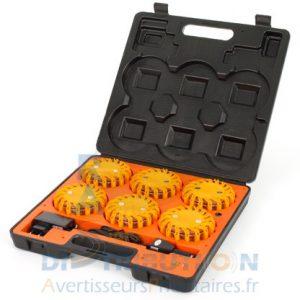 6 balises LED MegaFlare orange (balisage de chantier)