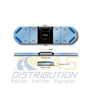 Rampe de gyrophare Legion FIT bleu 125 cm