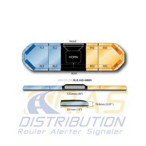 Rampe de gyrophare Legion FIT bleu orange 125 cm