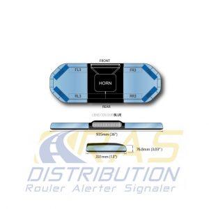Rampe de gyrophare lumineuse 93 cm Legion FIT bleu