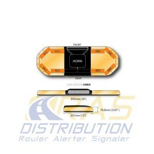 Rampe de gyrophare lumineuse 93 cm Legion FIT orange