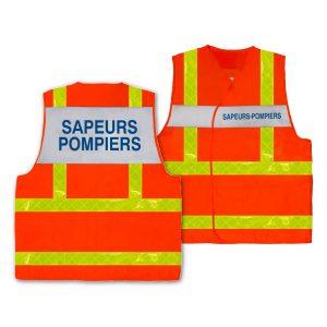 Gilet Sapeur-Pompier HV chasuble orange fluo bandes jaunes prismatiques
