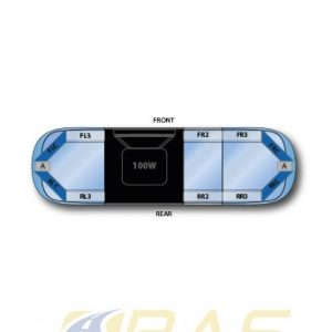 Rampe lumineuse bleu AEGIS 105 cm avec haut-parleur 100 watts intégré