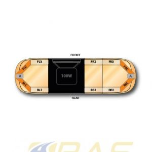 Rampe lumineuse orange AEGIS 105 cm avec haut-parleur 100 watts intégré