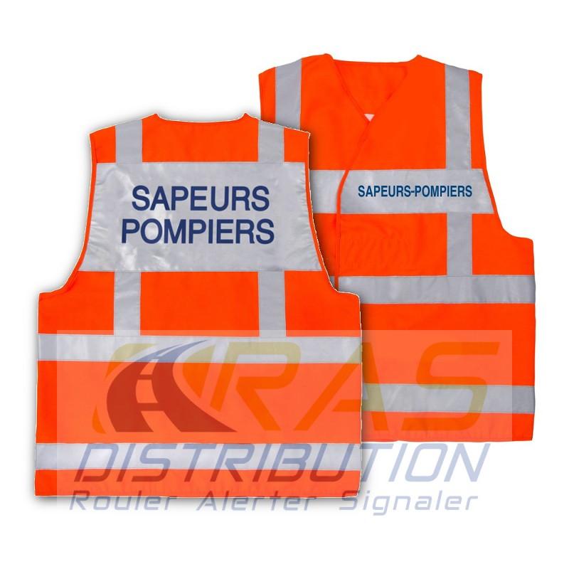Chasuble Pompier gilet orange Sapeurs-Pompiers bandes grises