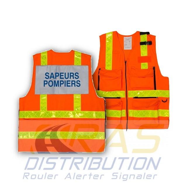 Gilet Pompiers epi haute visibilite multipoches bandes jaunes