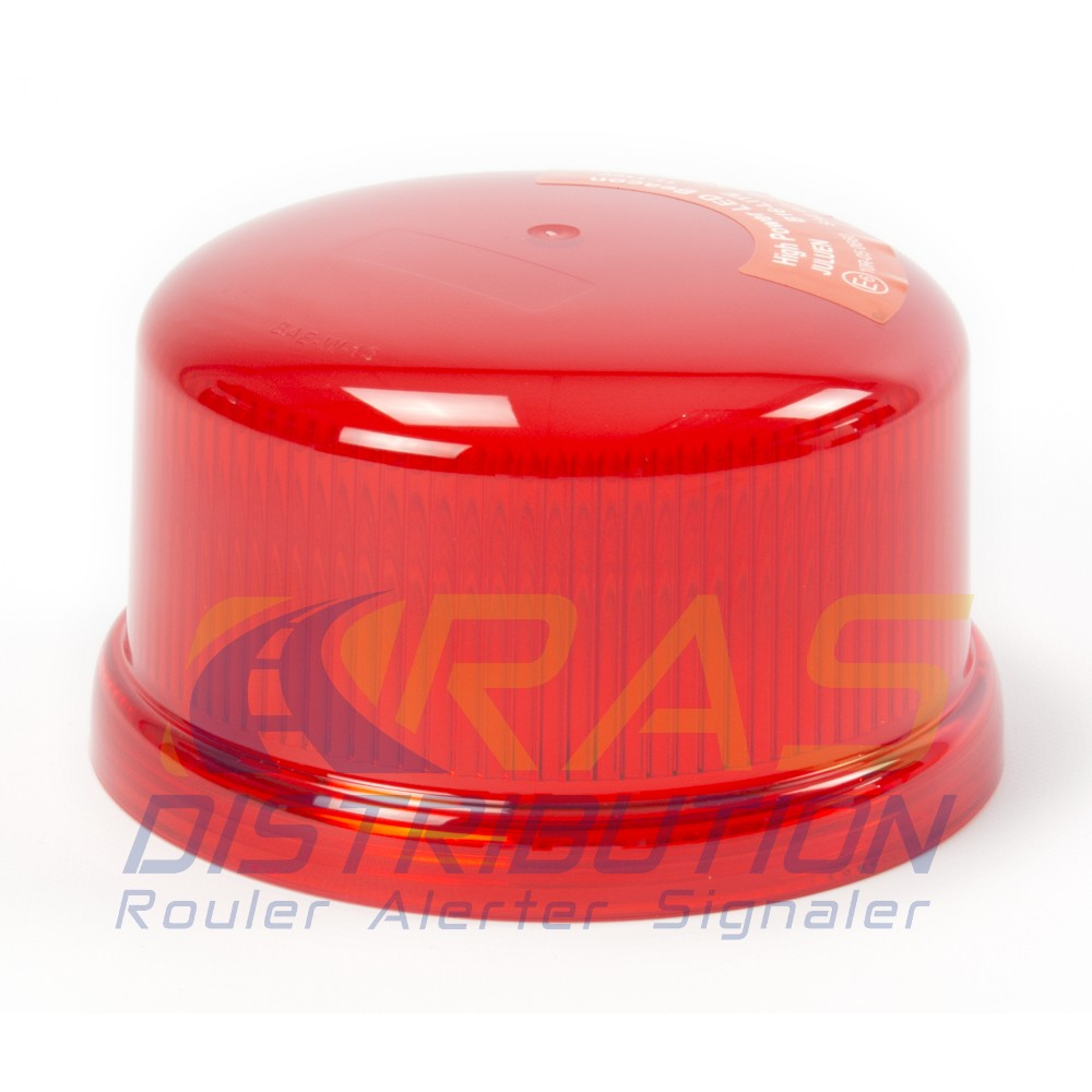 Cabochon rouge gyrophare b16 a LED coiffe polycarbonate