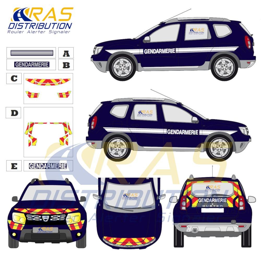 Kit deco Gendarmerie Dacia Duster 2010 2017 balisage jaune rouge