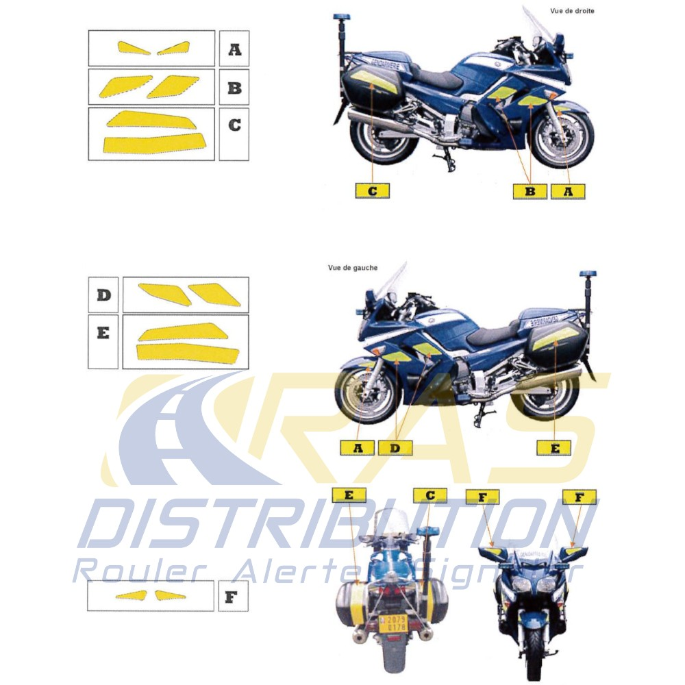 Kit jaune fluo Yamaha 1300 FJR Gendarmerie