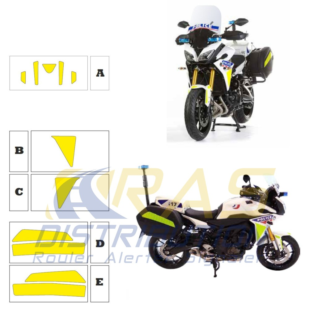 Kit jaune fluo Yamaha MT09 Police 2018