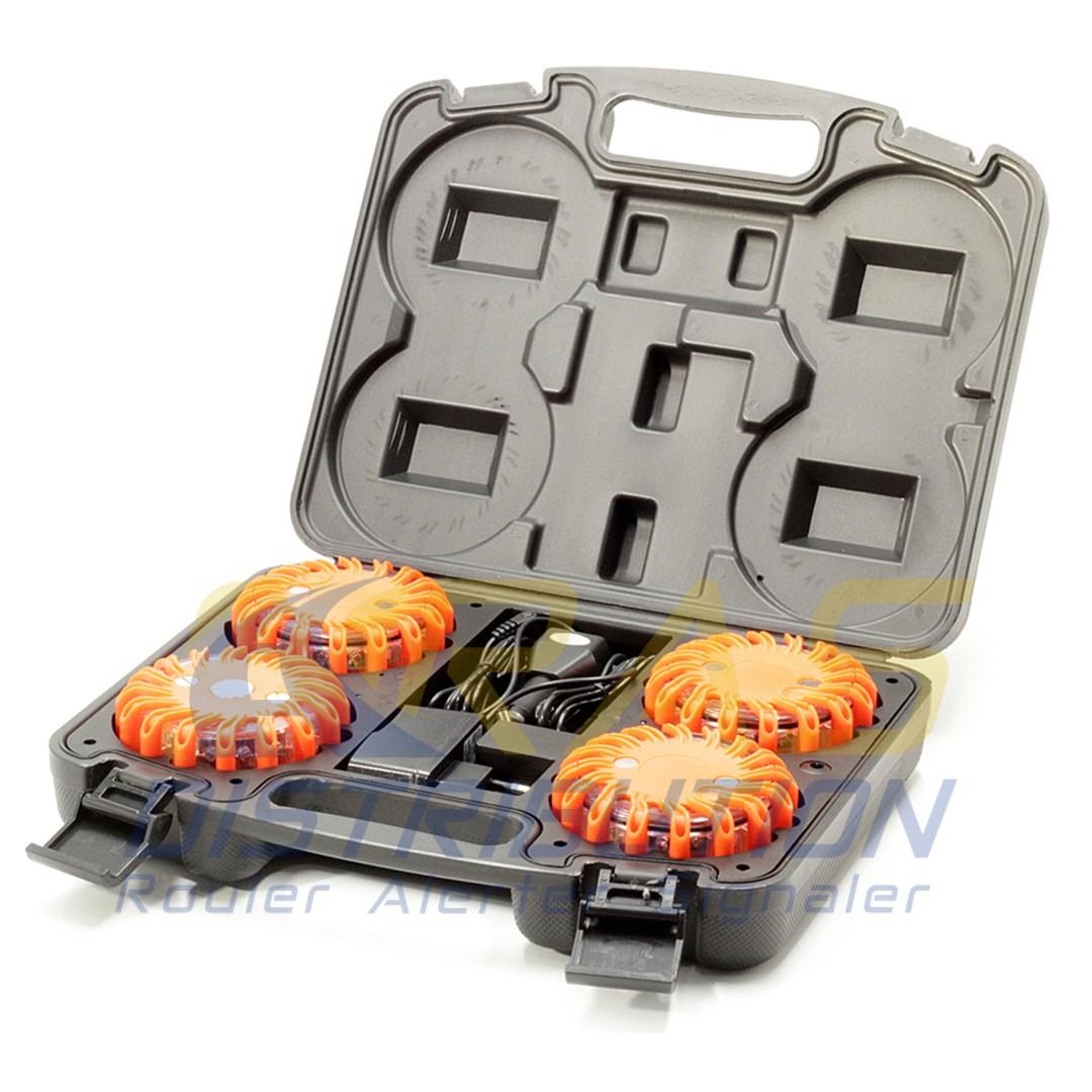 Balises lumineuses orange Mallette de 4 balises Megaflare