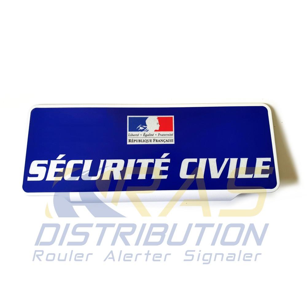 Plaque pare soleil securite civile bleue