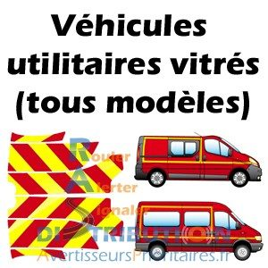 Kits de balisage rouge jaune Pompiers pour véhicules utilitaires vitrés