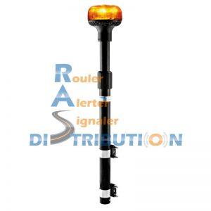 Mât moto avec gyrophare LED orange