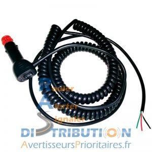 Fiche allume-cigare pour combiné gyrophare-sirène LM500 Solaris