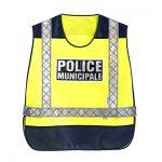 Chasuble Police Municipale jaune fluo et bleu haute visibilité