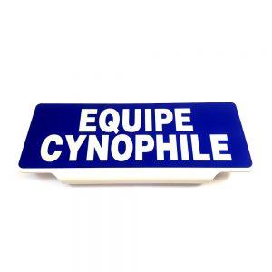 Plaque pare soleil équipe cynophile sur fond bleu
