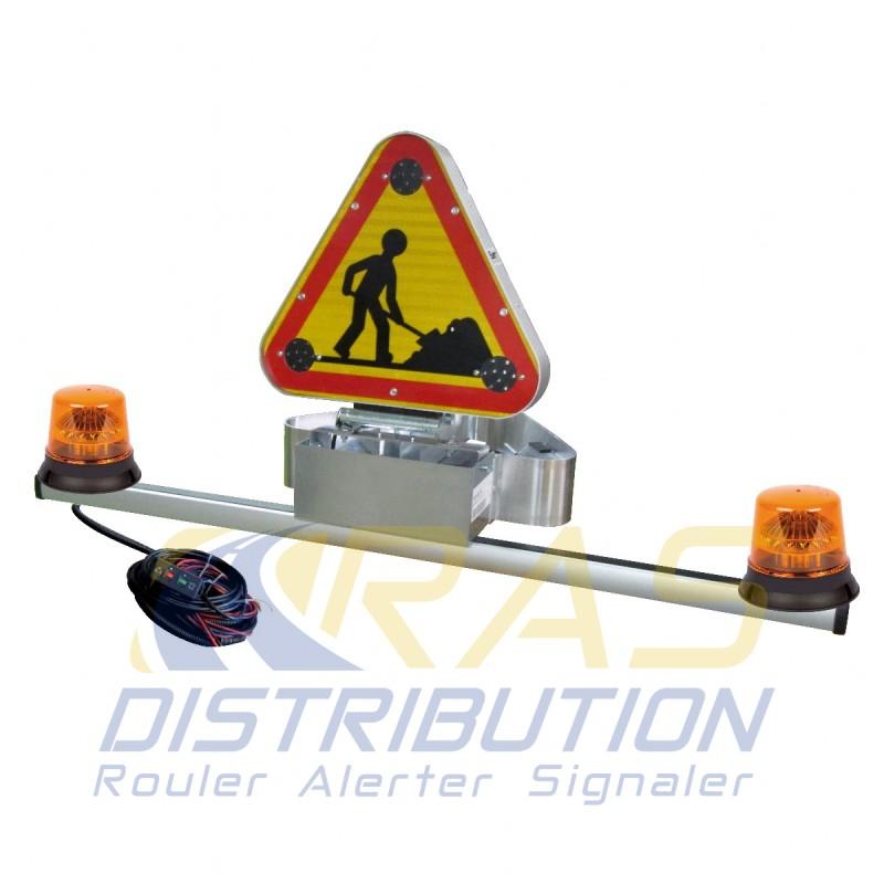Barre de signalisation equipee triflash 500 mm electrique classe B 2 gyrophares LED