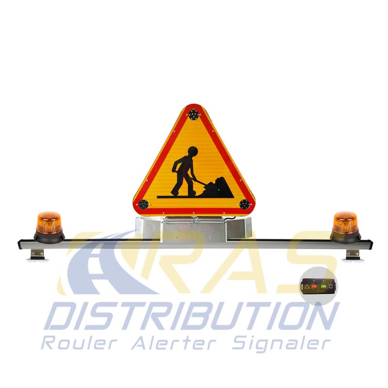 Barre de signalisation triangle triflash 700 mm classe B relevage electrique 2 gyrophares LED