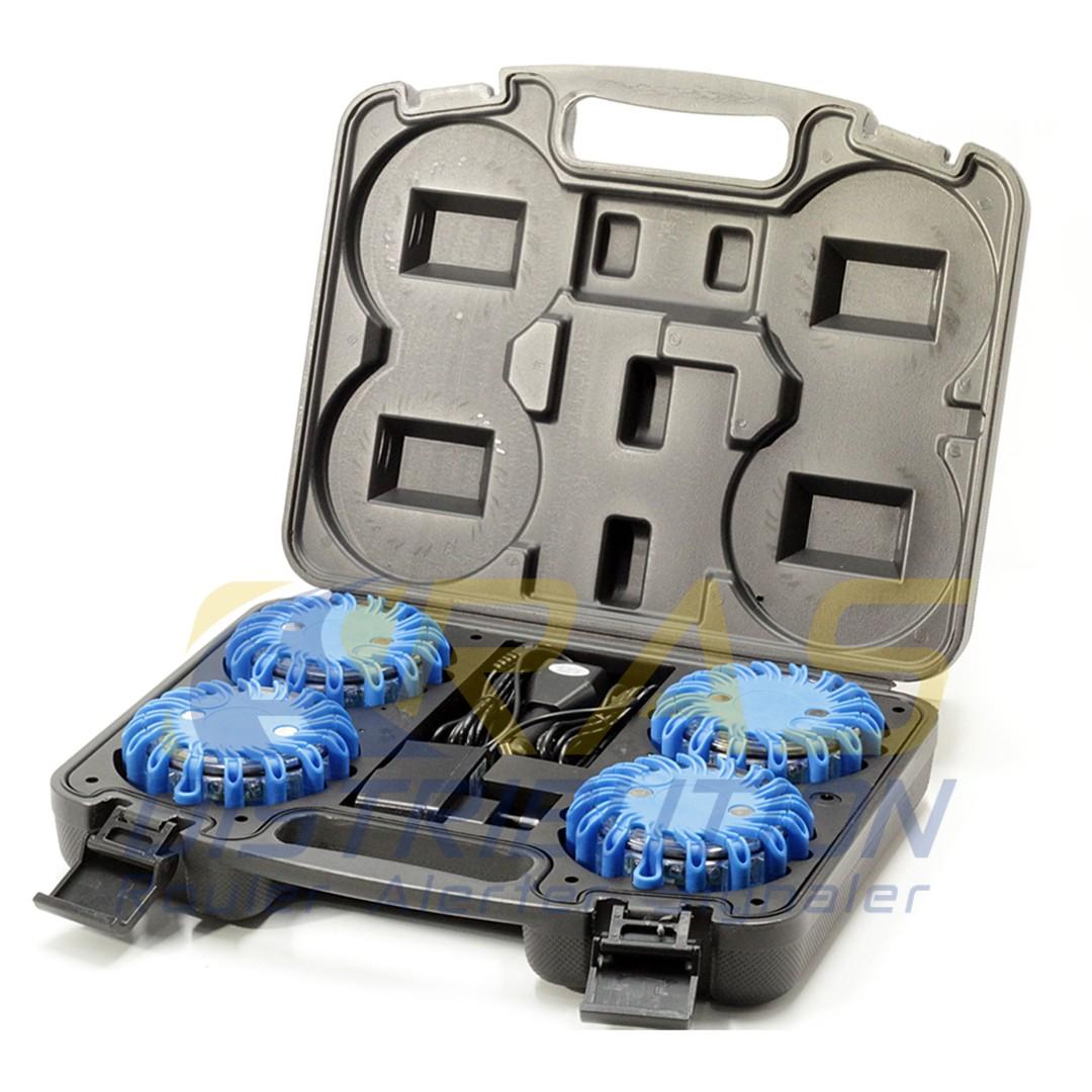 Balises lumineuses bleues mallette de 4 balises LED