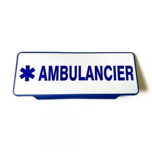Plaque pare soleil Ambulancier avec croix de vie